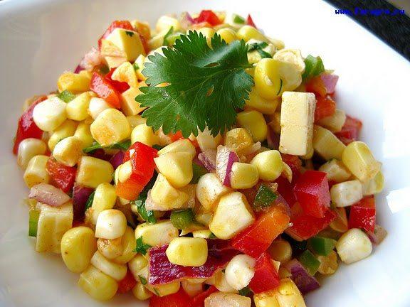 Салат кукурузный с яблоком и картофелем