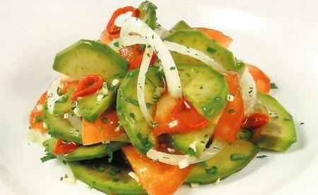 Салат из авокадо, папайи и ветчины