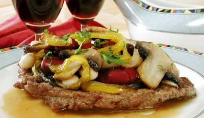 Мясо с имбирем и грибами