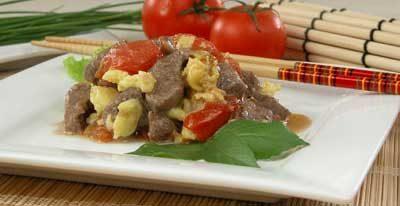 Говядина с помидорами и яйцами