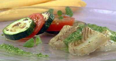 Рыба с зеленым соусом