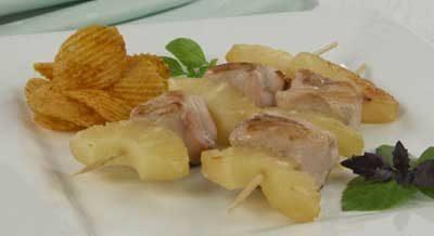 Шашлычки из курицы с ананасами