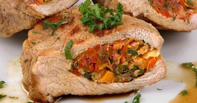 Свинина с овощами и зеленью
